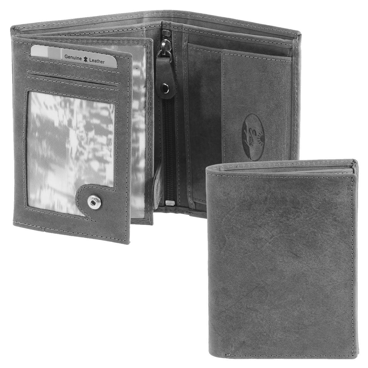Geldbörse: Braun, Grau oder Cognac, Leder / Art.-Nr. 282770