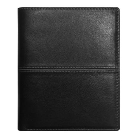 Geldbörse: Schwarz oder Schwarz / Blau (Leder)