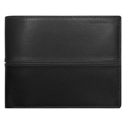 Geldbörse: Schwarz oder Schwarz / Blau, Leder / Art.-Nr. 367730